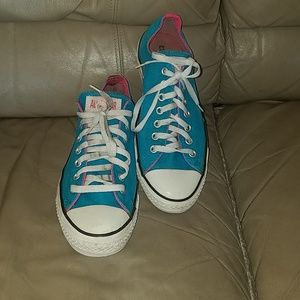 Neon Pink and Blue Converse